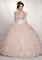 2014 New Ball Gown Sweetheart Lace up Back Floor Length Ruffle/Beads Organza Quinceanera Dresses ZY031