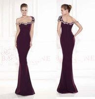 2015 Elegant Beadings Purple Formal Dress Long Evening Dresses Mermaid Evening Gown Floor Length Tarik Ediz abendkleide ZY010