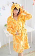 free shipping giraffe winter hooded robe long sleeved sleepwear women pyjamas(China (Mainland))