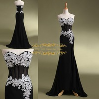 2015 Exquisite Mermaid Evening Dress 2014 In stock 100% Real Pictures Fashion Sweetheart Applliques Long Evening Dress ZY4065