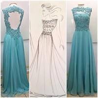 TQ-012 Sexy Open Back Evening Gown Sweet Romantic A-line Strapless Lace Evening Dresses Party Dresses vestidos de noite 2014