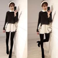 Spring 2015 New Women / Girl Fashion Korean sweater stitching minidress