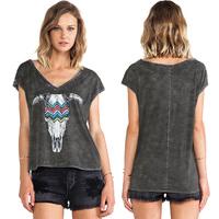 Women T-shirt Fashion Bulls Head Skull Printed Sleeveless Deep V-Neck Asymmetrical Hem Cotton Tops Six Size Plus Size D534