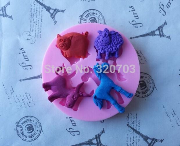 Quatro animais vaca / cervos / cavalo / carneiro forma Silicone Mold bolo que decora bolo do copo molde rendas G026(China (Mainland))