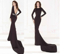 2015 Tarik Ediz Sexy Black Prom Dress Beadings Backless Mermaid Evening Dresses Long Sleeve Court Train Custom Made ZY011