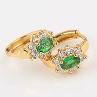 Fashion 24K Yellow Gold Filled Women's Hoop Earrings inlaid Green Crystal GF jewelry