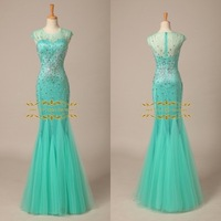 2015 Exquisite Mermaid Evening Dress In stock 100% Real Pictures Fashion Cap Sleeves with Beading Long Evening Dress ZY4028