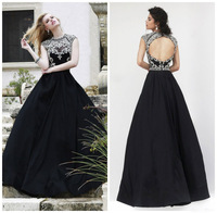New Arrival Luxury Cap Sleeve Boat Neck Beaded Crystal Evening Dress 2015 Open Back Black Long Formal Evening Gown ZY008