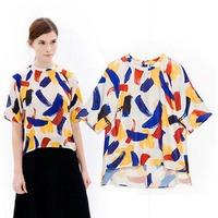 2015 European Style Women Shirt  Short Sleeve O-neck Pullover Summer Spring Famous Brand Tops Blouse CL2276