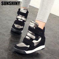 2015 South Korean Style of Latest spring and autumn Velcro shoes, stealth increased women's high upper sneakers shoes CD96