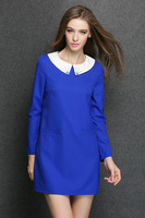 2015 spring antumn fashion Elegant women soild silm peter pan collar pocket work dress casual dress women clothing 2color L-4XL