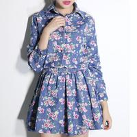 2014 Women Vintage Floral Print Slim Denim Blouse Dress Cute Preppy Long Sleeve Kleider Turn Down Collar Ruffle Short Vestidos