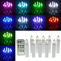 10PCS RGB Tea Flameless Remote Control LED Candle Wedding Xmas Tree Party Wedding Christmas New Year Home Decoration lamp Candle