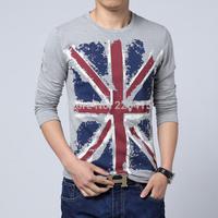 Free Shipping Fashion Men Flag Print O-neck tshirt basic t shirt men long-sleeve camisetas masculinas plus size M-5XL