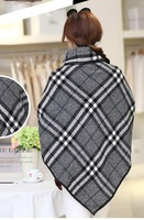 2014 fashion winter woolen overcoat women fashion trench woolen cape coat plus size womens capes and ponchoes elegant plaid coat