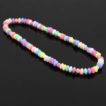 Fashion New 2015 Candy Color Sweet Girl Pearl Beads Necklace Choker Cute Flower Resin Bead Necklace