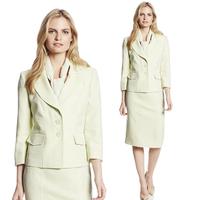 2014 Autumn Suits Women Office Skirt Suit Formal Career Work Wear Two Piece Set Elegant Ladies Designer Business Suits Plus Size
