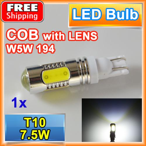 1 X T10 7.5W High Power COB Car LED Lamp W5W 194 168 12V XENON Reverse Light Parking Bulbs FREE SHIPPING(China (Mainland))