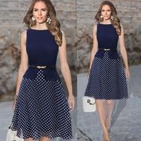 Summer Dress Women Work Wear Sleeveless Belted Polka Dot Printed Office Dress Plus Size Knee Length Chiffon Tunic Vestidos