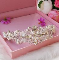 Bride handmade pearl rhinestone crown bride the wedding hair accessory wedding accessories