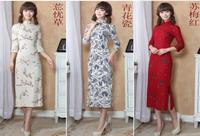 women cheongsam 2014 autumn/winter linen 7 points sleeve placketing fashion vintage design long cheongsam//free shipping