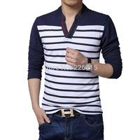 Men Autumn tshirt stripe long-sleeve V-neck t shirt men casual plus size M-5XL camisetas masculinas Free Shipping