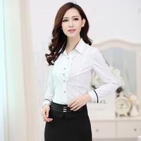 2015 New Hot Fashion Women's Long Sleeve Solid Color Chiffon Shirt Slim Blusas Femininas Wear Plus Size Blouses