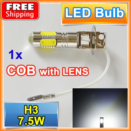 1 X H3 7.5W High Power Car LED Headlight Super Bright Auto Fog Lamp COB 12V XENON White Bulbs FREE SHIPPING(China (Mainland))