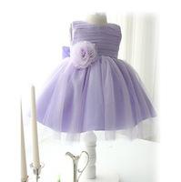 Free Shipping Retail Girl Dress Purple Vestidos De Menina 2014 Summer Bow Fashion Girl Kids Clothes Baby Princess Dress