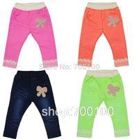 [April's]retailsale kids cotton pants,kids fluorescence colour pants girls bowknot lace pants,children long pants ,  B13109