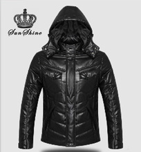 2014 winter fashion warm men's casual slim leather jacket PU mens faux leather jacket  men down jacket(China (Mainland))