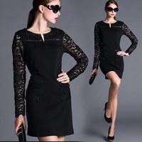 European Station Spring 2015 Plus Size Pocket design Lace Sleeve Patchwork Long Sleeve Women's Dresses XL-XXXXXL Free Shipping