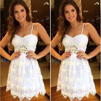 women sexy party dress renda branco vestido de festa curto de renda 2014 Hot white lace dress short Spaghetti Strap vestidos