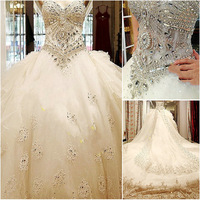 S01 Real Photo New Straps 2015 crystals Luxury bride Sweetheart Applique Bead cathedral train wedding Dress Bridal Gown