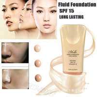 Brand Cosmetic Makeup Liquid Foundation Fluid Face Blemish Balm Whiten Flawless Coverage Silky High Definition Sun Block SPF15