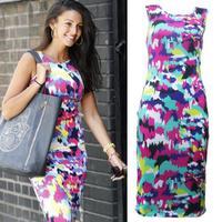 Hot Sale 2014 Autumn Women Sleeveless Print Dress Fashion O-Neck Pencil Dress Ladies Elegant Office Dresses