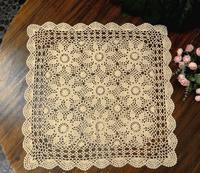 Home Decoration Square  Handmade Crochet White/Beige Table Cloth Computer Sofa Fridge Bedside Cabinet Cover