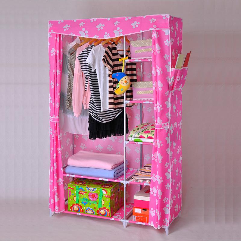 New Home mobiliário novo não tecido guarda-roupa simples simples lado positivo para reforçar aço guarda-roupa de pano dobrável presente de natal(China (Mainland))