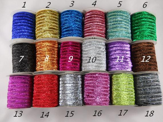 "5/8"" 15mm Glitter Elastic Solid Glitter FOE Elastic DIY Headbands Hair Ties Hairband 20Yards/lot Free Shipping(China (Mainland))"