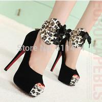 HS001,spring high-heeled shoes wedding shoes platform fashion women's shoes pumps bottom leopard print high heels shoes