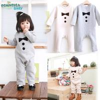 Wholesale 3 pcs/lot 2014 autumn new born infant long sleeve little tie climb clothes toddler boxer romper kids cotton jump suits