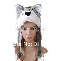 Plush Animal Husky Wolf Cartoon Earmuff Fuzzy Beanie Hat Winter Adult Women Men's Children Kids Costume Warm Fluffy Cosplay Cap