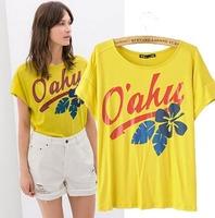 2015 European Style Women T-shirt Cotton Short Sleeve Letter Ok Leaf Printing O-neck Summer Shirt Famous Brand Tops Blouse C2258