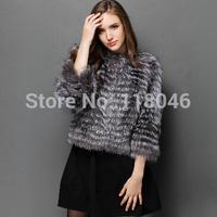 New 2014 winter European fashion real sliver fox fur coat short jacket warm overcoat for lady luxury outwear striped parkas
