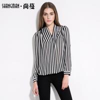 ( Spike ) 2014 autumn new European and American fashion half-open shirt collar vertical striped chiffon long-sleeved shirt femal