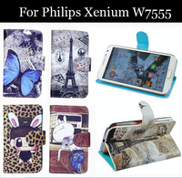 Luxury Cell Phone Accessories print cartoon Case flip pu leather case for Philips Xenium W7555,gift