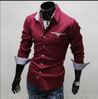 M-XXXL Man Plus Size 2014 Casual Mens Dress Shirts Long Sleeve Slim Fit Shirts Chemise Homme Camisa Social Masculina Men Shirt