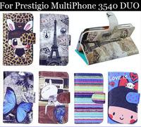 Luxury Cell Phone Accessories print cartoon Case flip pu leather case for Prestigio MultiPhone 3540 DUO ,gift