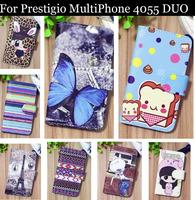 Luxury Cell Phone Accessories print cartoon Case flip pu leather case for Prestigio MultiPhone 4055 DUO ,gift