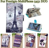 Luxury Cell Phone Accessories print cartoon Case flip pu leather case for Prestigio MultiPhone 5451 DUO ,gift